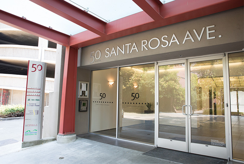 Sign of address on building showing 50 Santa Rosa Avenue