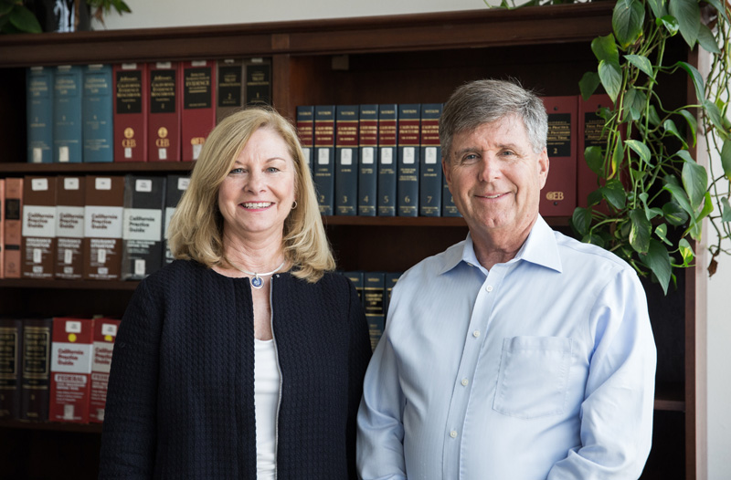 Doug and his assistant Trish stand at a bookshelf welcoming you to their firm
